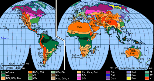 world viewed as koeppen climate zones